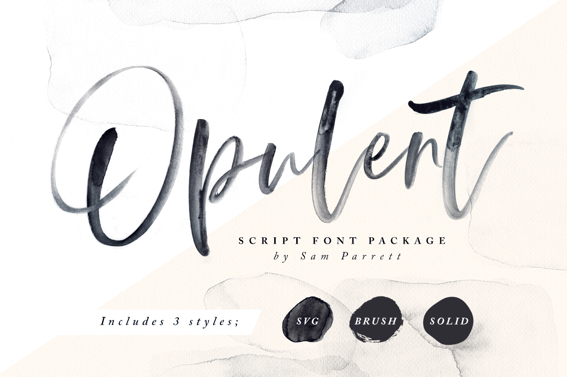 Opulent - typeface like watercolour painting