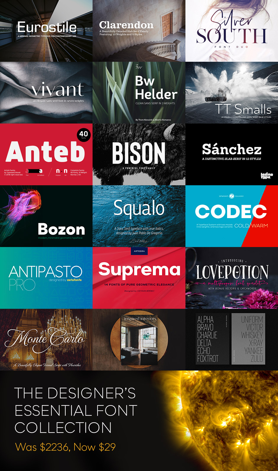 The Designers Essential Font Collection Grid Image
