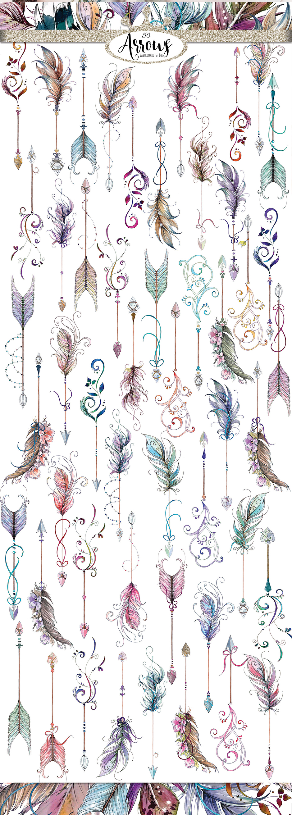 Watercolor & Ink Boho Arrows Clip Art