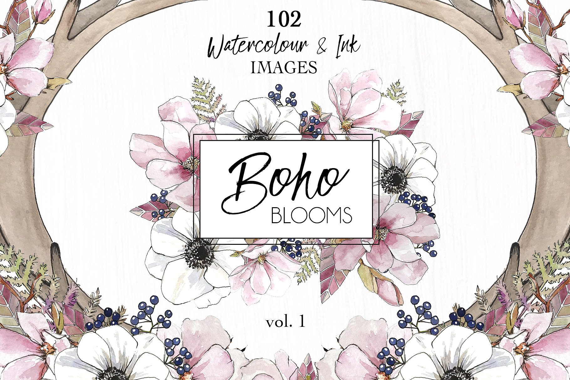 Watercolor & Ink Floral Clipart: Boho Blooms Vol.1
