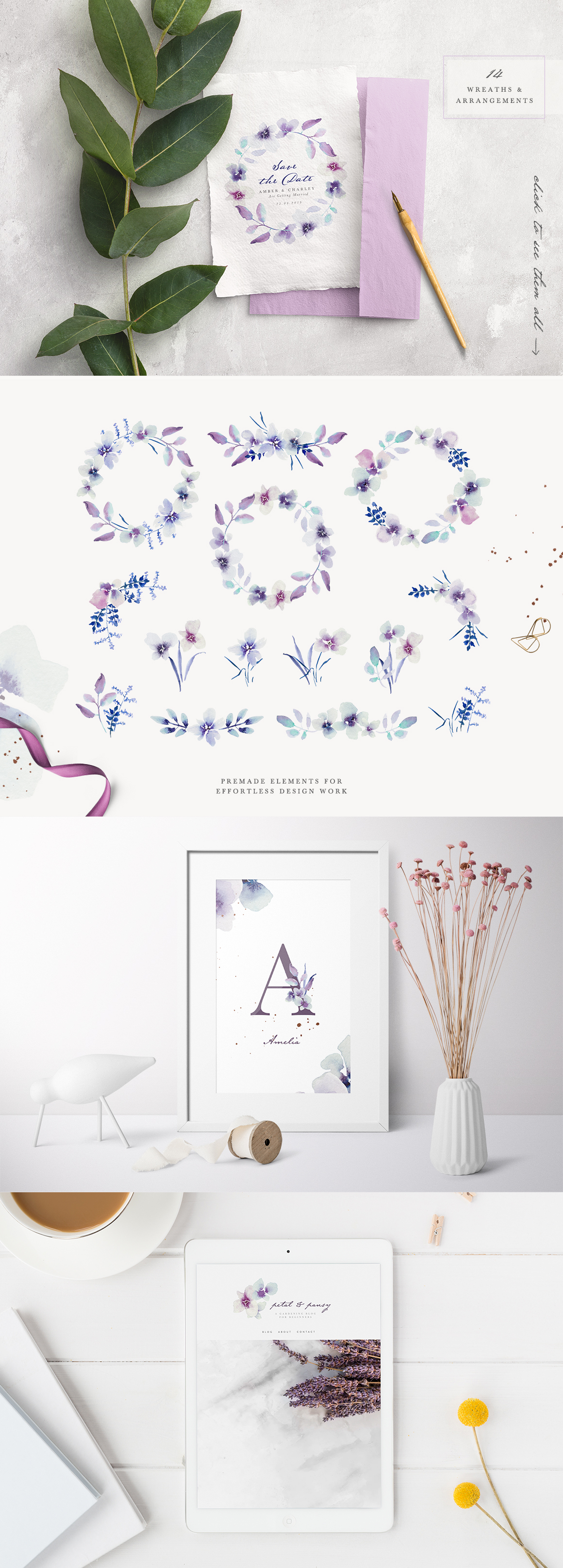 Abstract Watercolor Florals