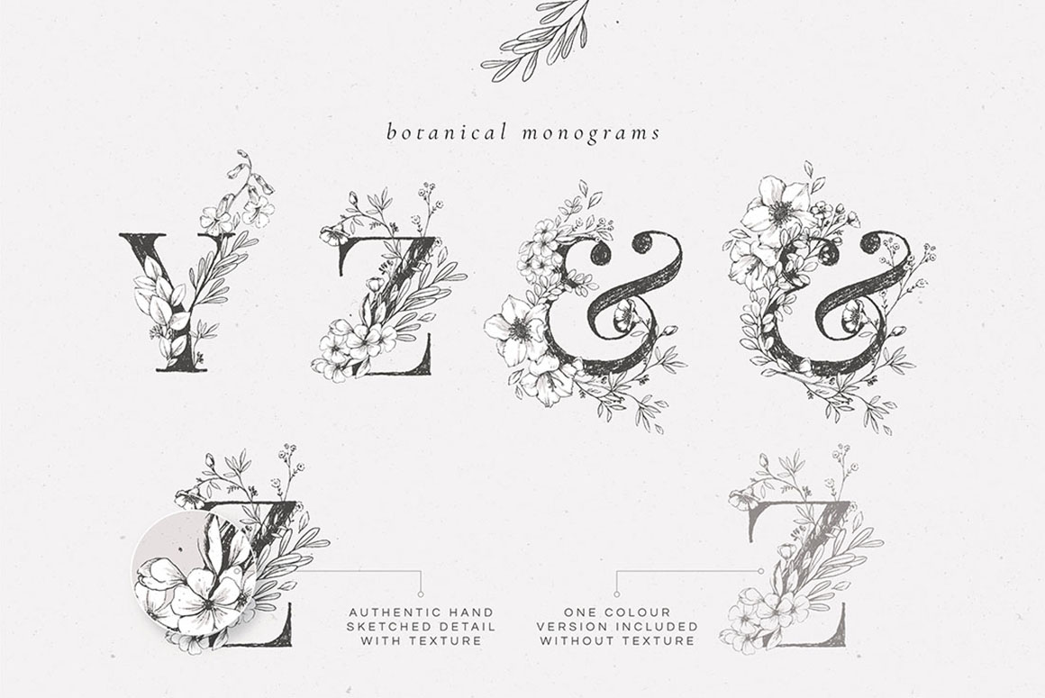 Country Botanical Illustrations & Monograms