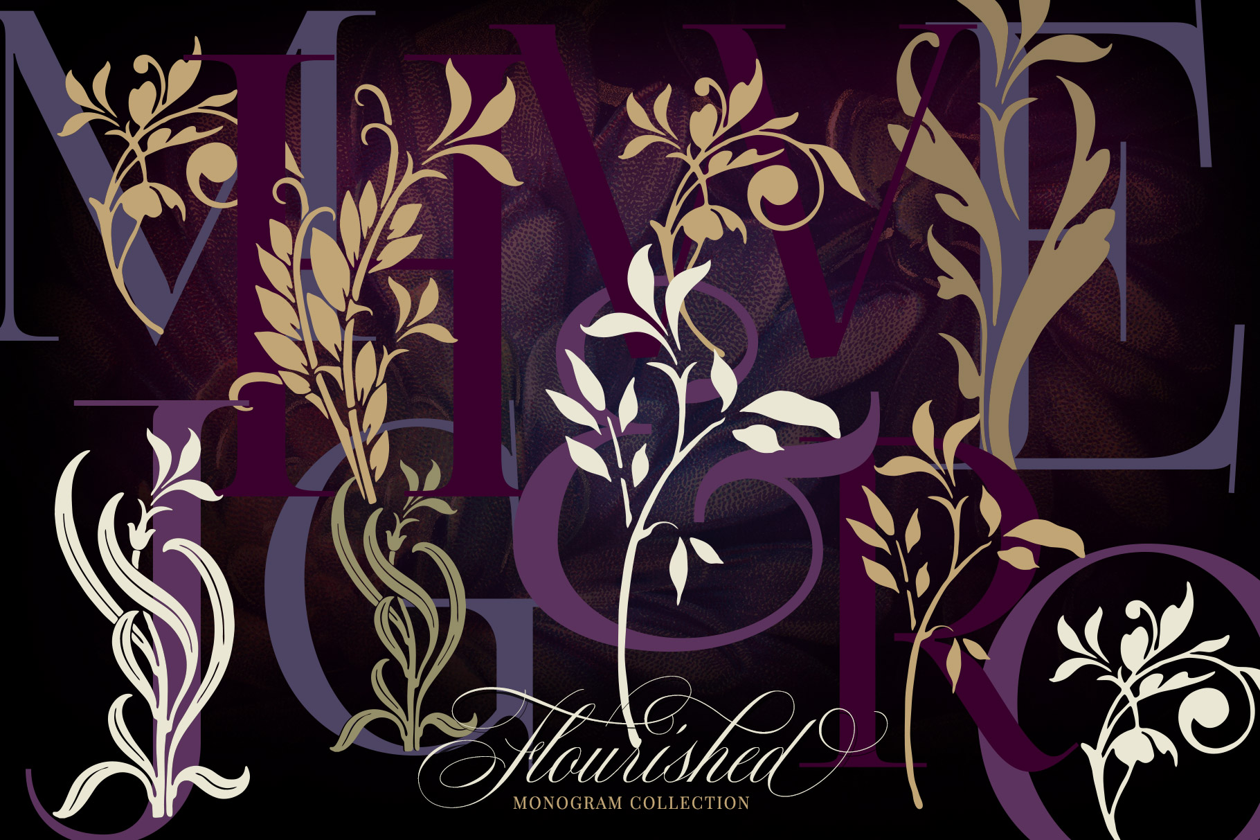 Flourished Split Monogram Collection