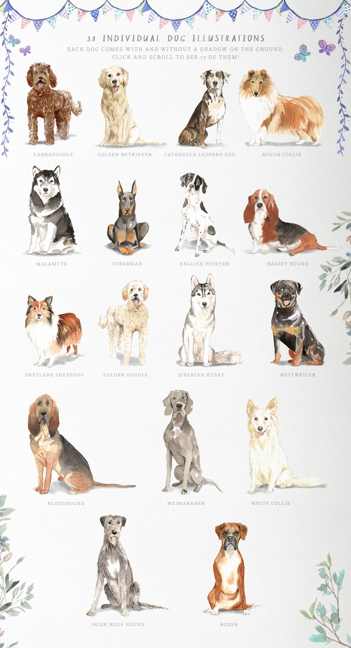 Muddy Paws Volume 2 – Watercolor Dog Graphics