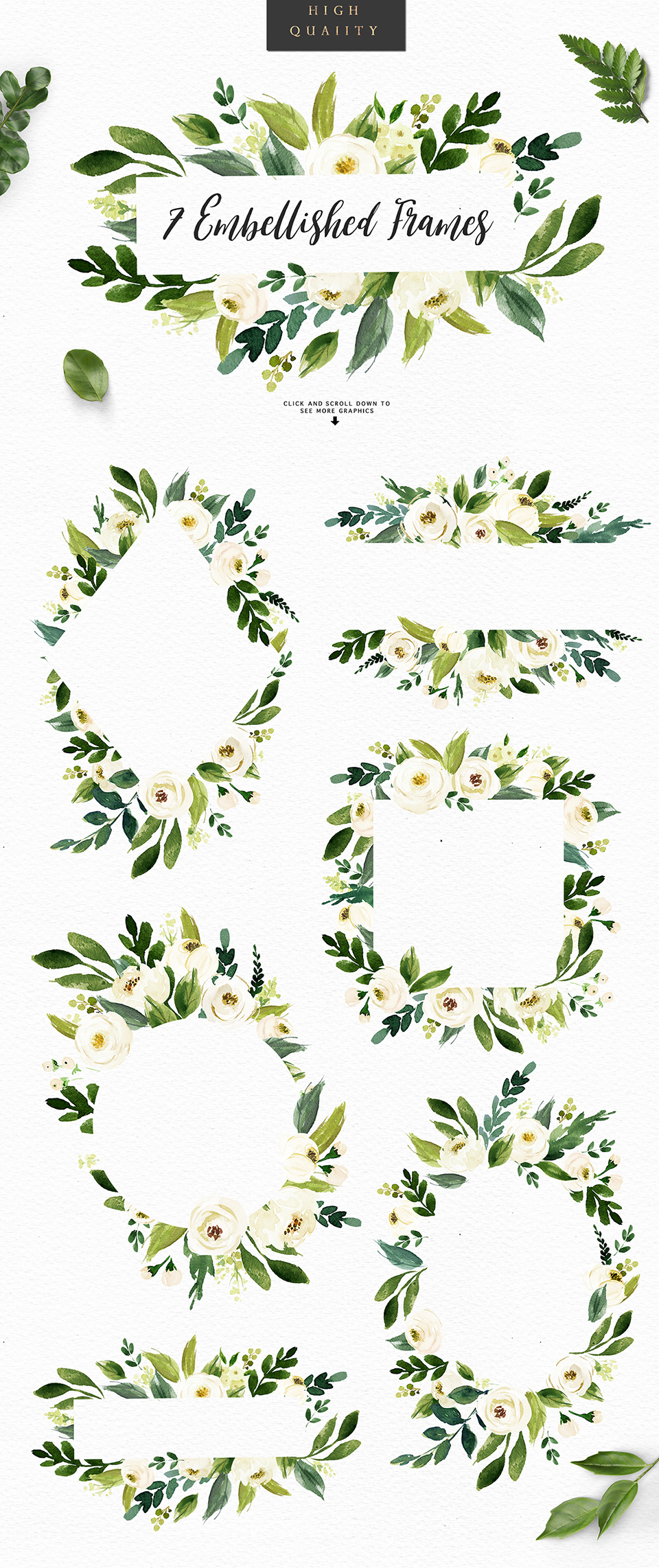 Watercolor White Flower Clip Art Design Cuts