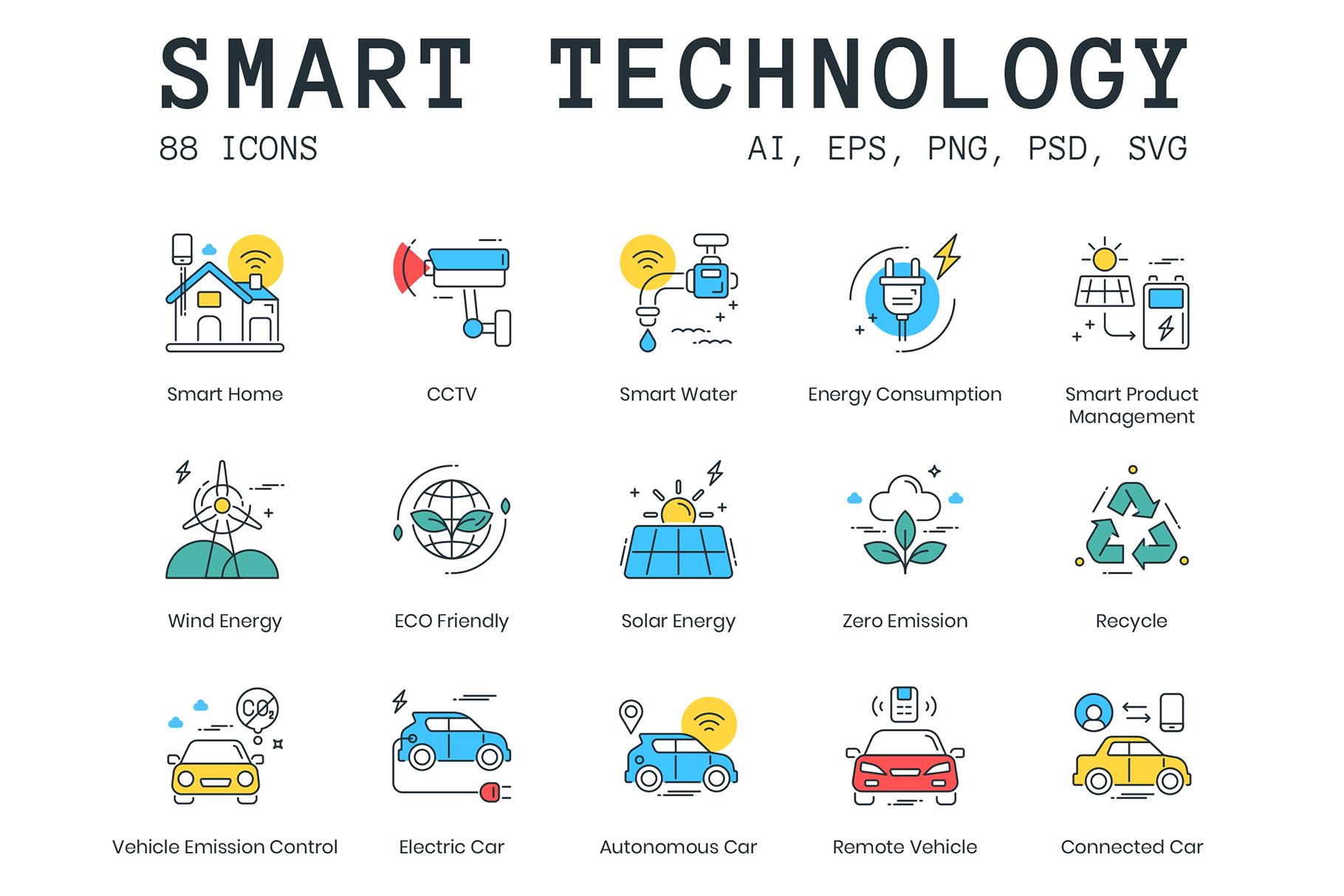 88 Smart Technology Icons Design Cuts