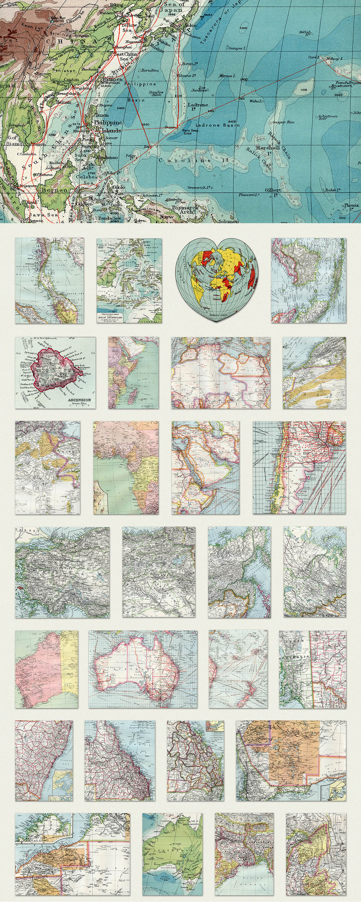 130 Vintage Maps of the World
