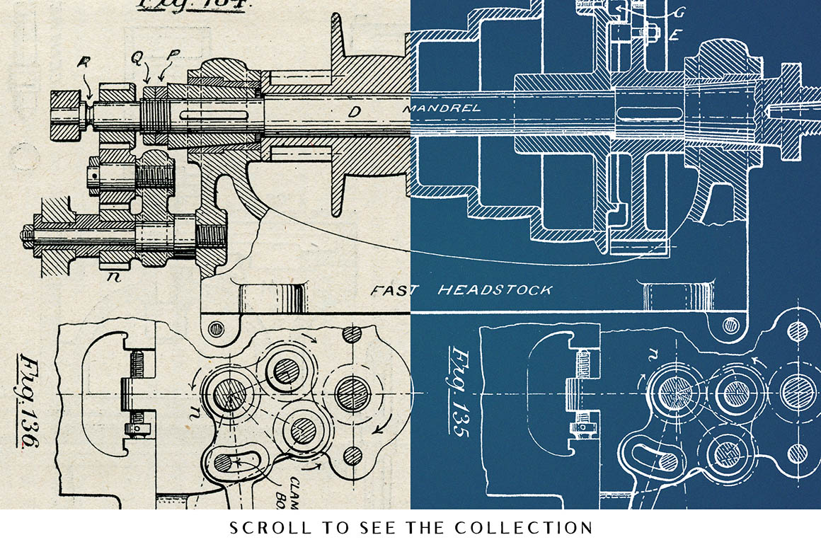 Vintage Mechanical Blueprints