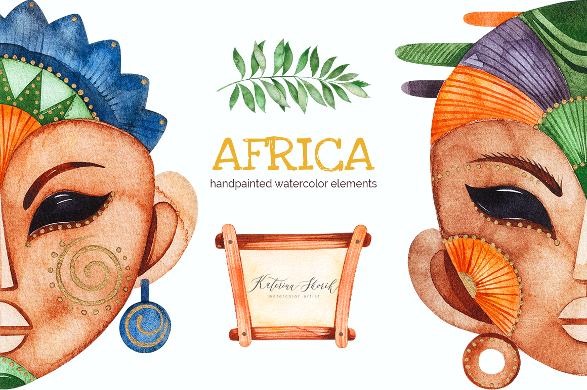 Africa. Watercolor collection.