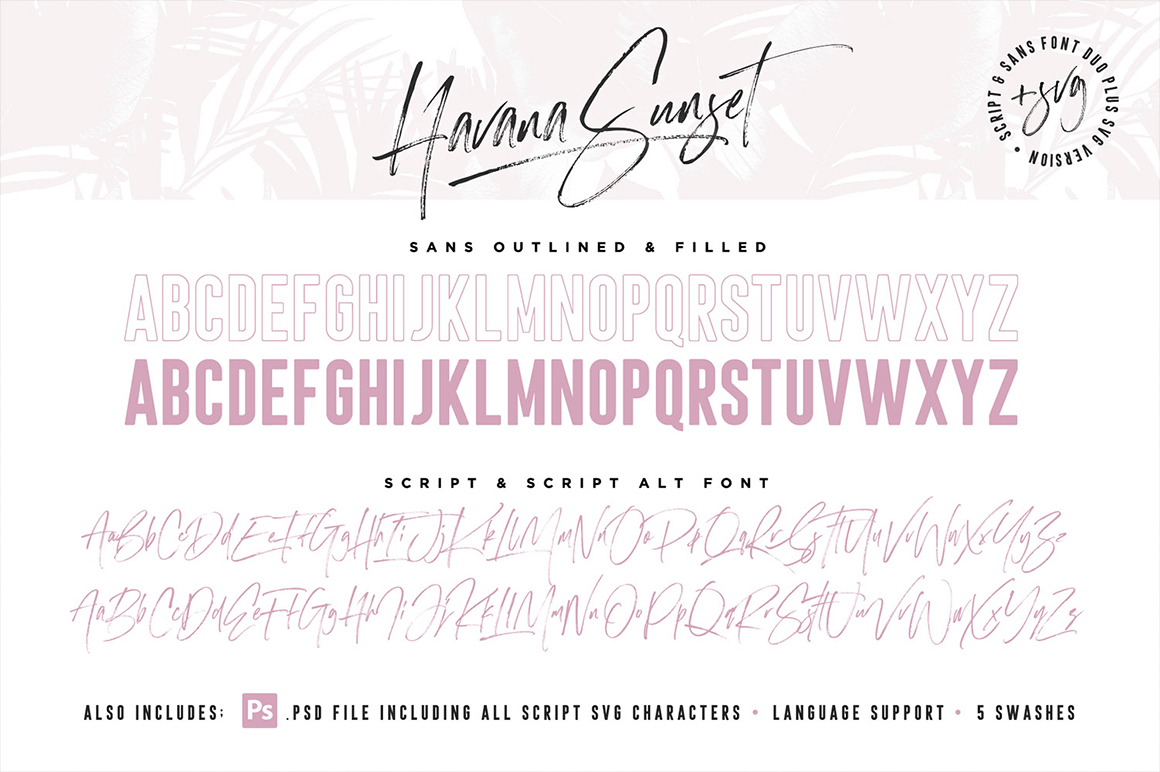 Havana Sunset Font Duo + SVG