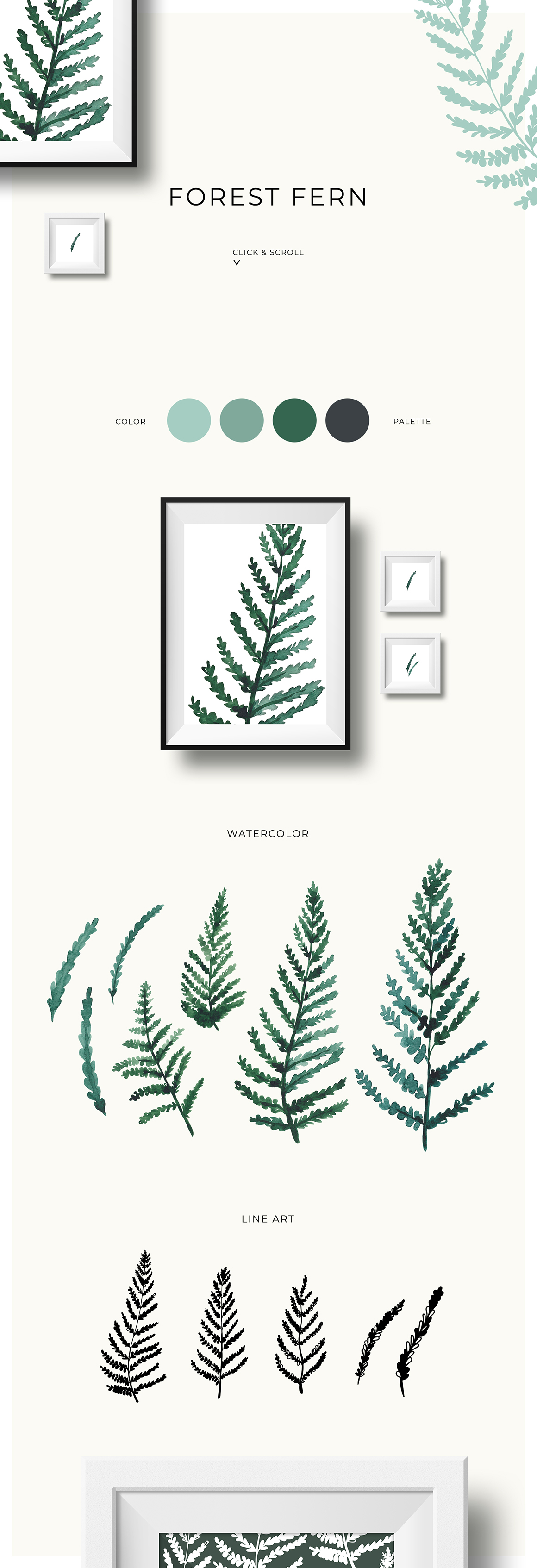Trendy Greenery: Watercolor & Line Art Collection