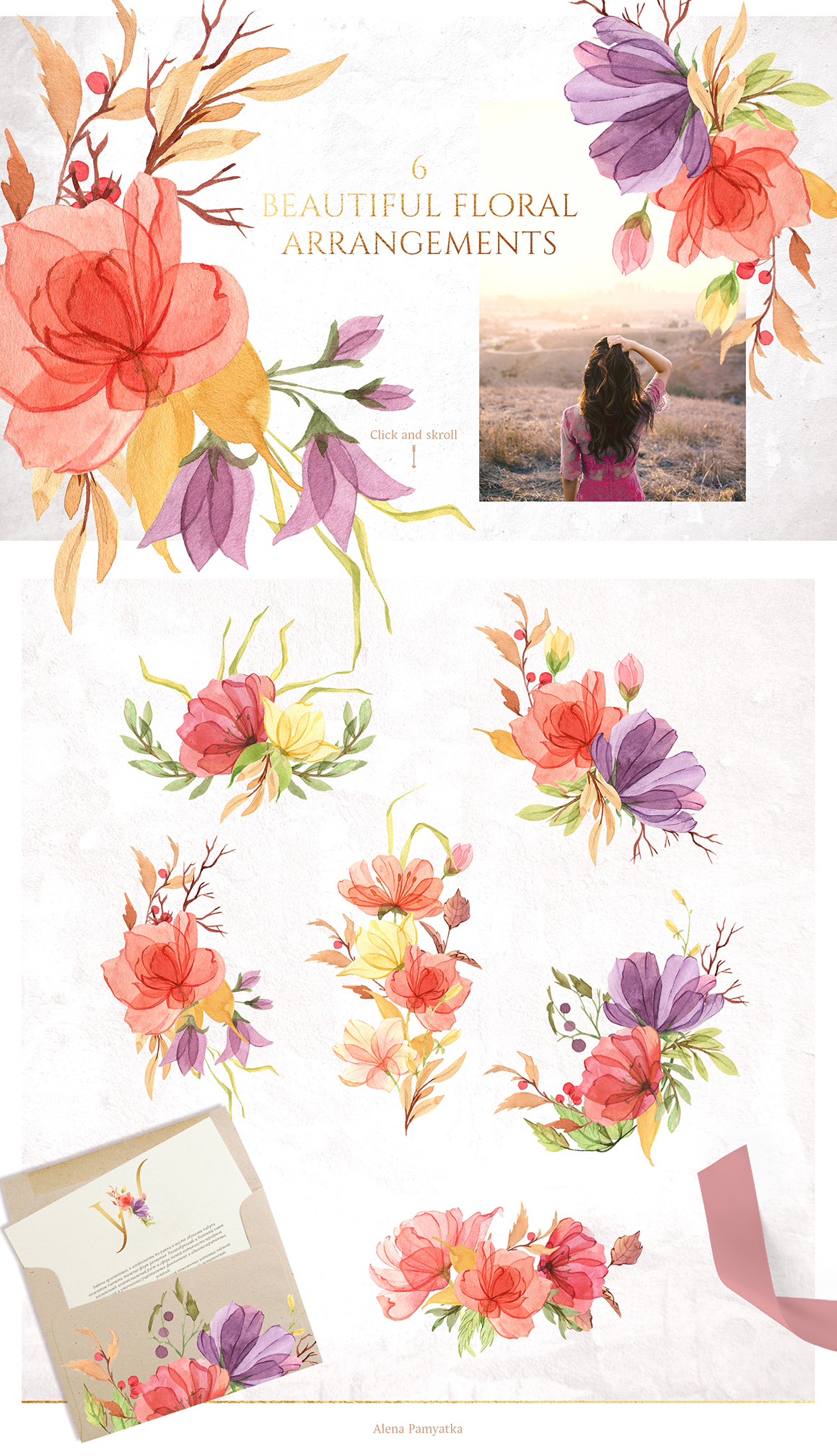 Watercolor Gentle Bright Flowers