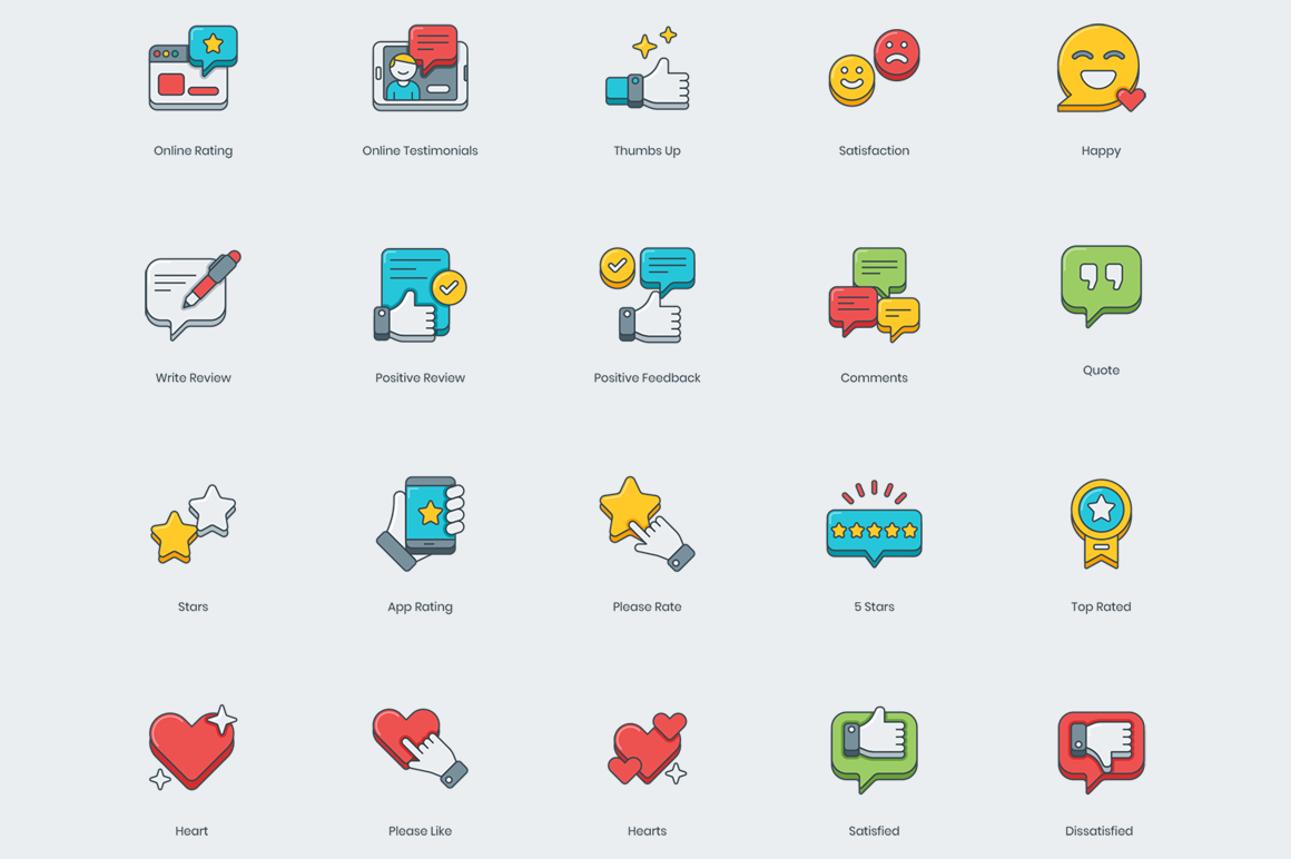 50 Customer Service and Feedback Icons
