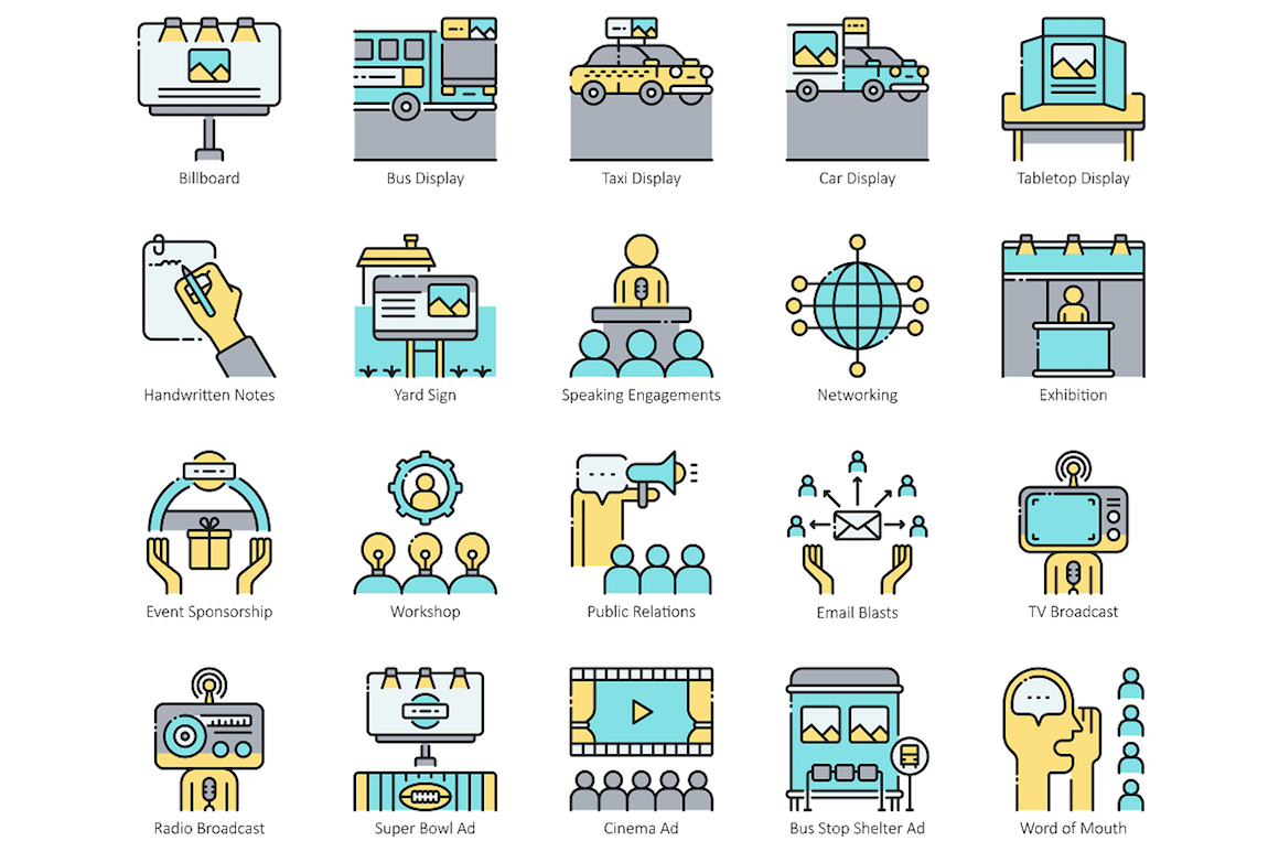 56 Traditional Marketing Icons