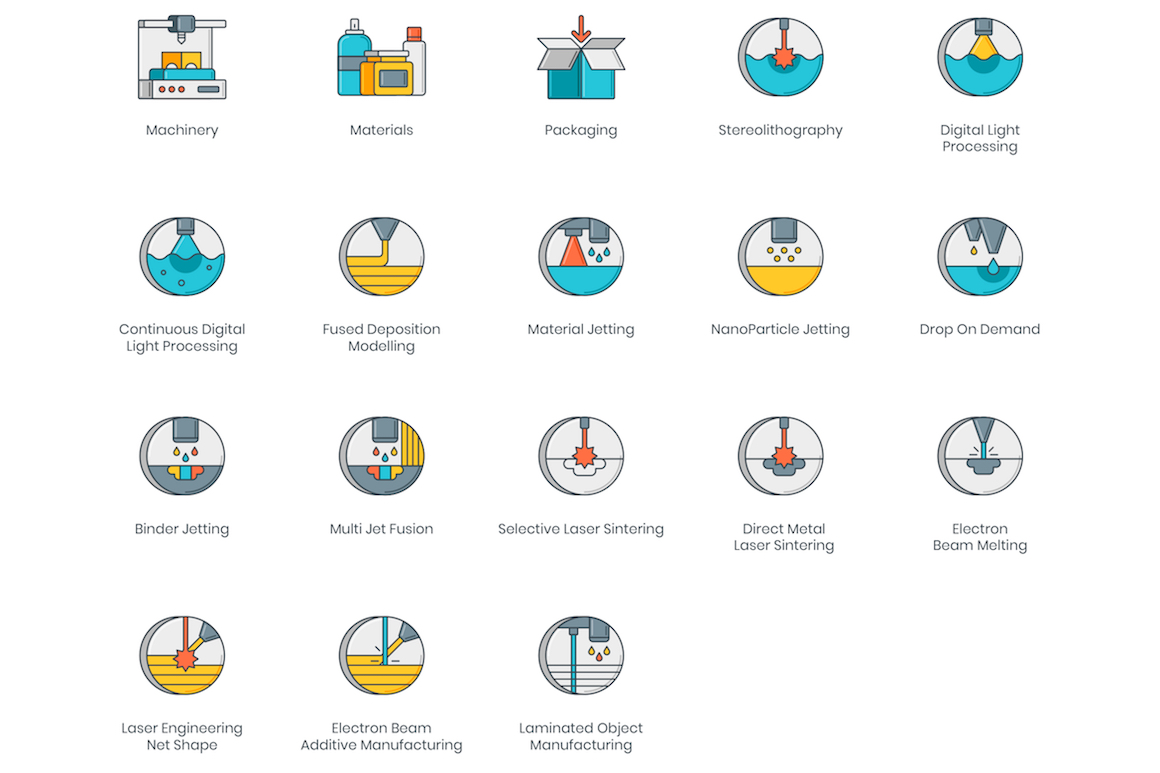 58 3D Printing Icons