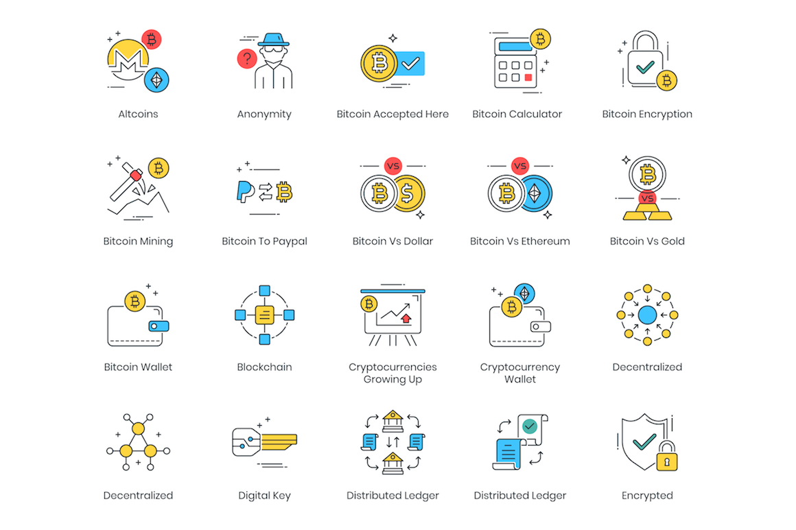 74 Cryptocurrency Modern Icons