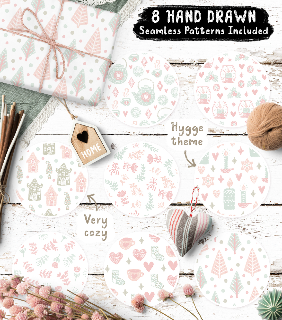 Douillet Font with Hygge Clipart