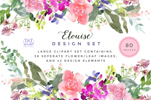 Elouise - Large Floral Clipart Set