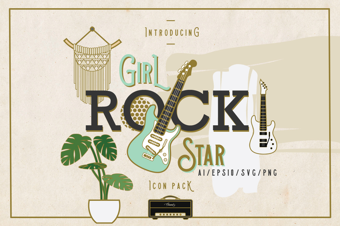 Girl Rock Star Icon Pack