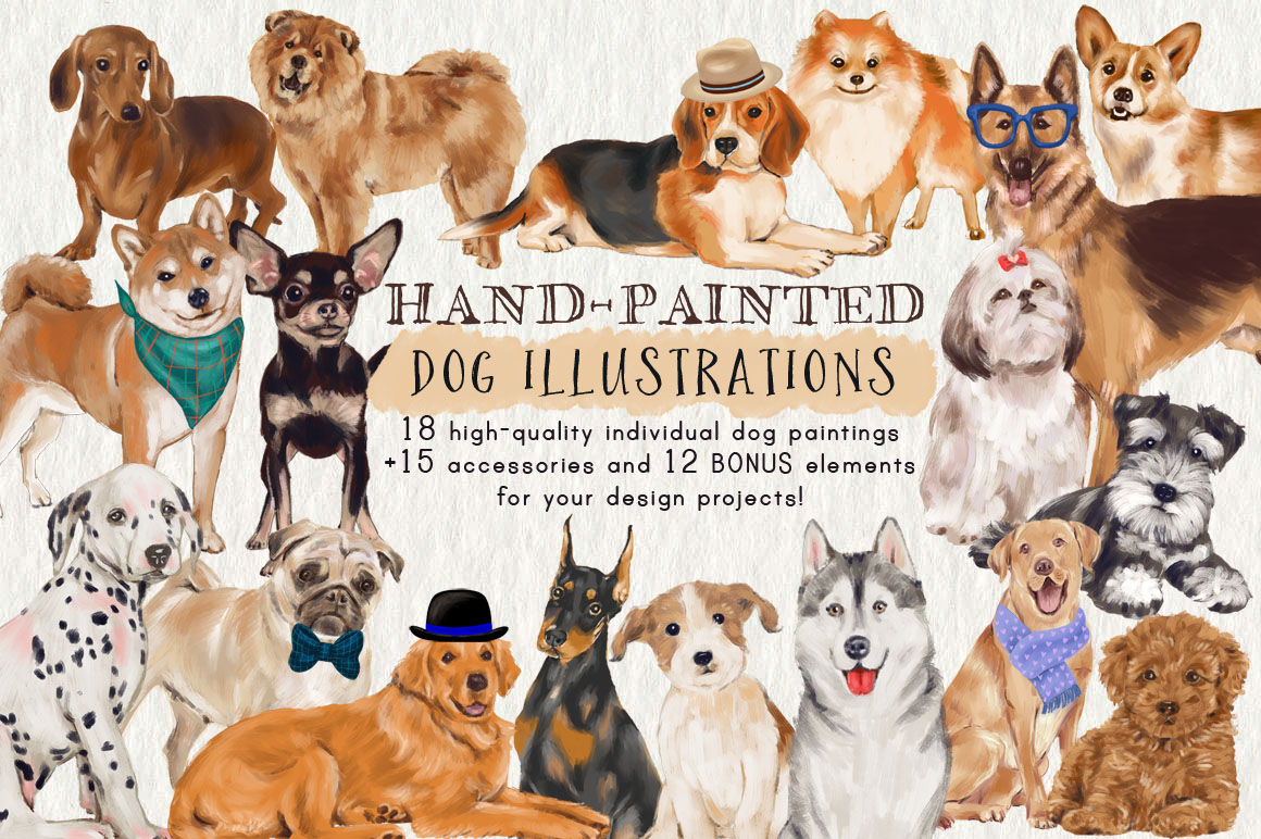 Hand-painted Dog Illustrations