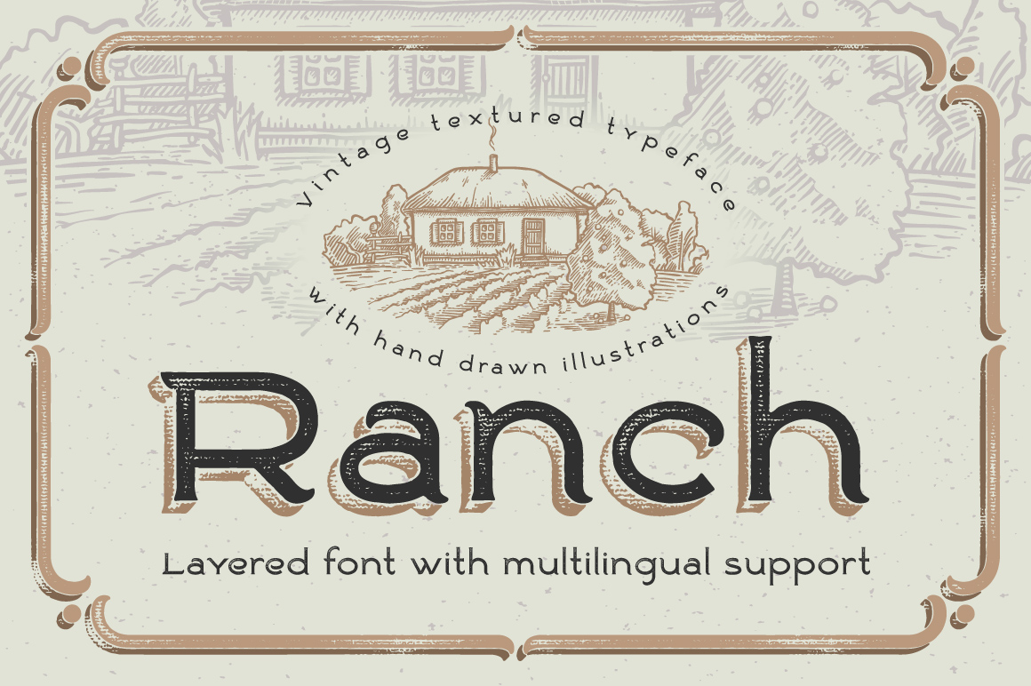 Ranch Vintage Font and Illustrations