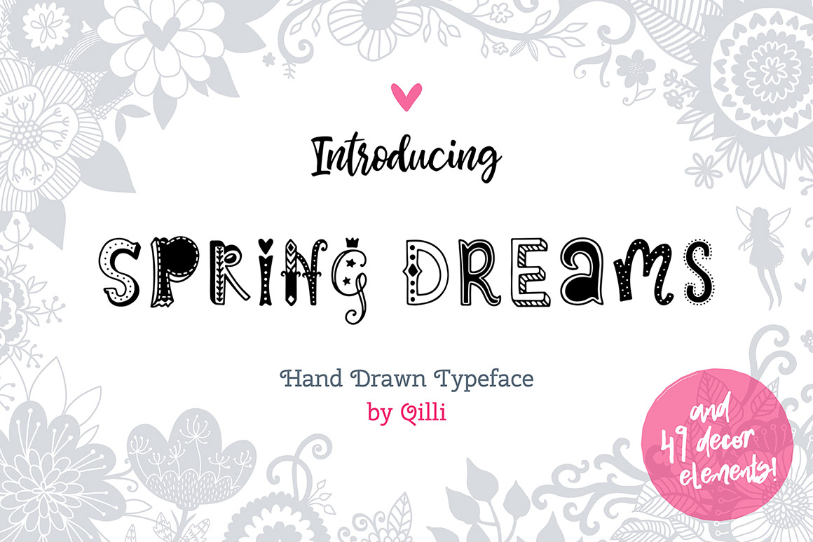Spring Dreams Typeface with Clipart