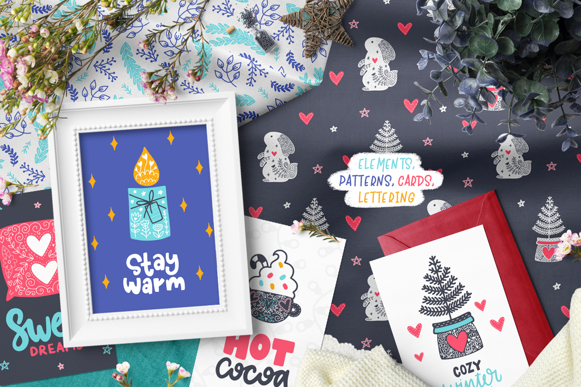 time hygge clipart collection design cuts