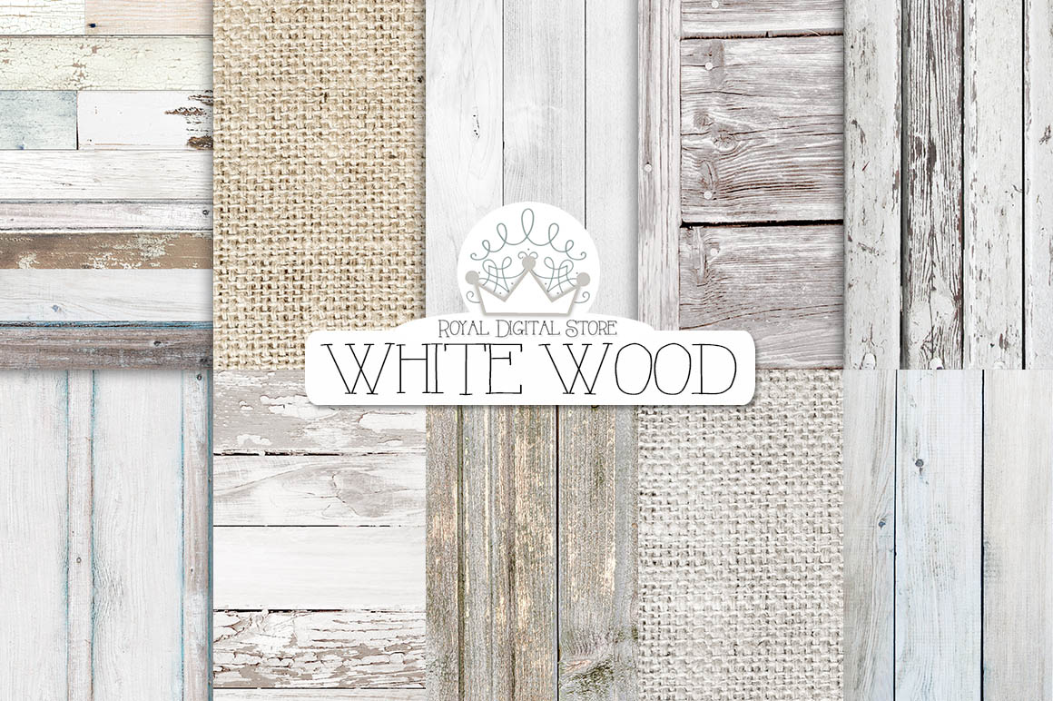 White Wood And Burlap Digital Textures