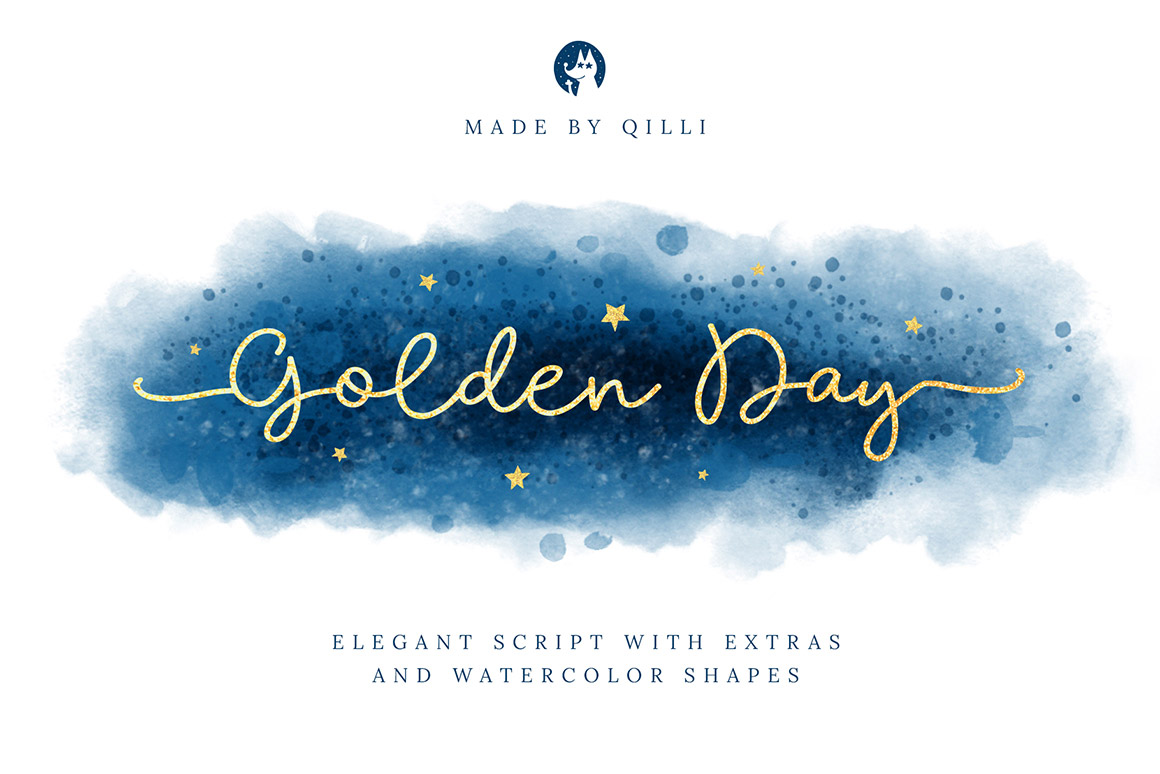 Golden Day Font with Extras and Shapes