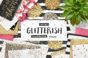 100 Glitter Illustrator Swatches + Extras