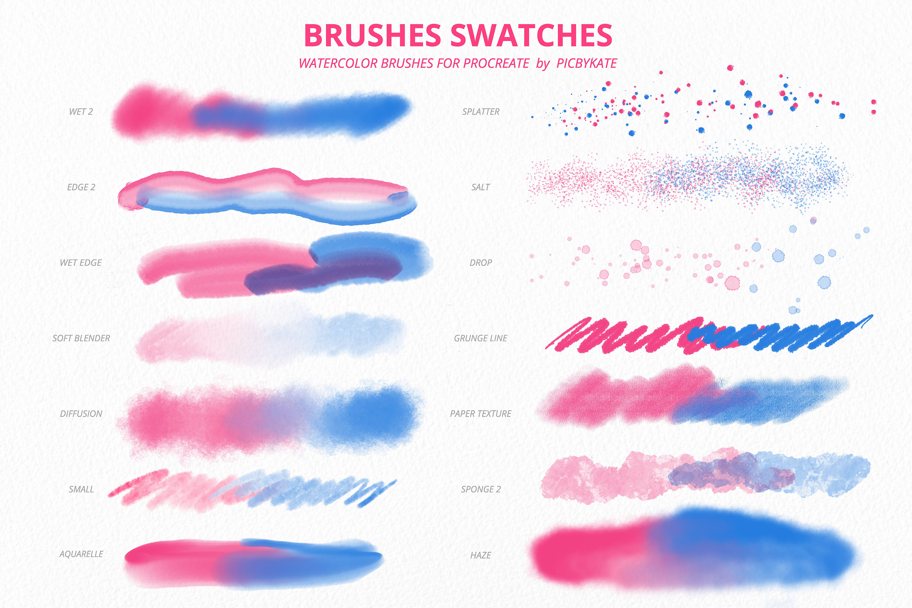 50 Procreate Watercolor Brushes - Design Cuts