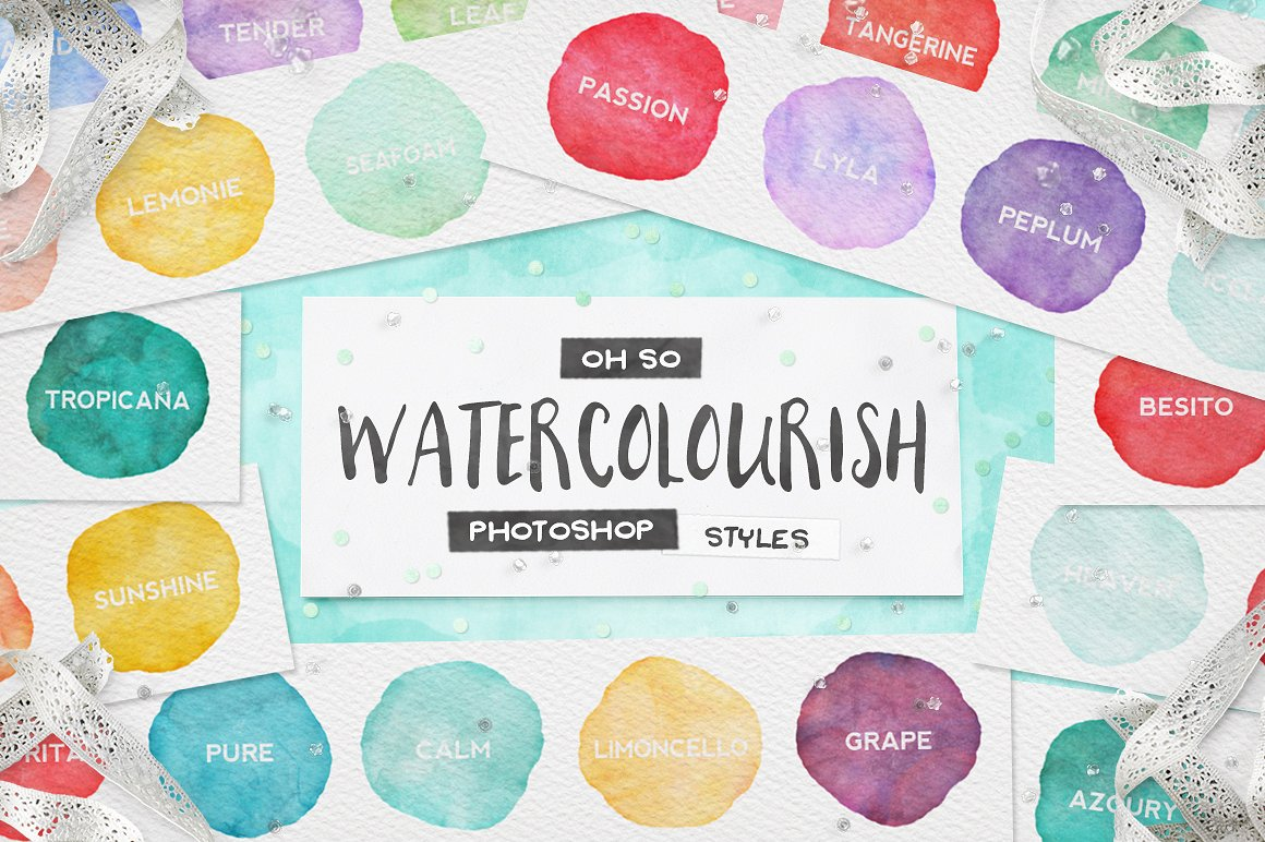 90 Watercolor Styles For Photoshop