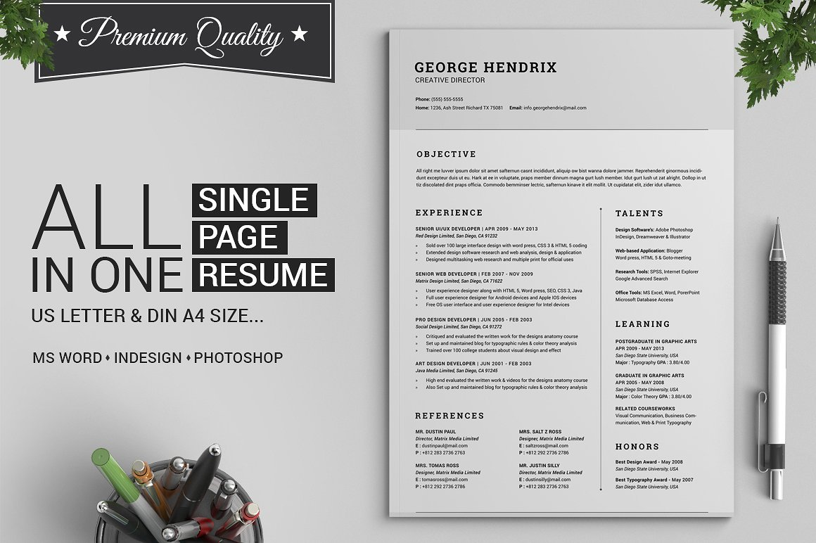 All in One Single Page Resume Pack
