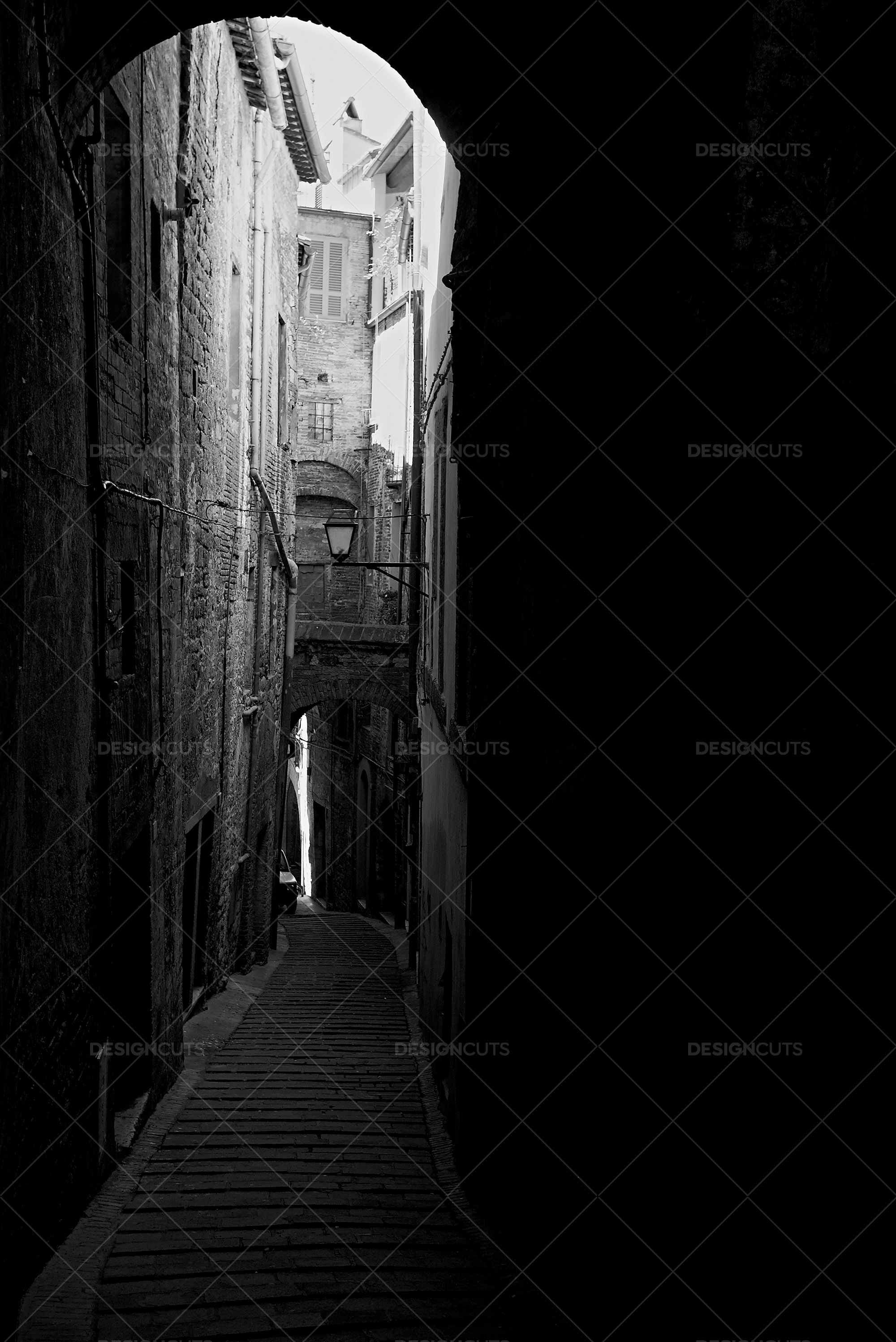 Black And White Alleyway In Italy