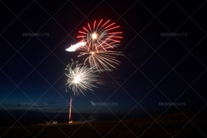 Motion Blurred Fireworks Light Up Night Sky No. 2