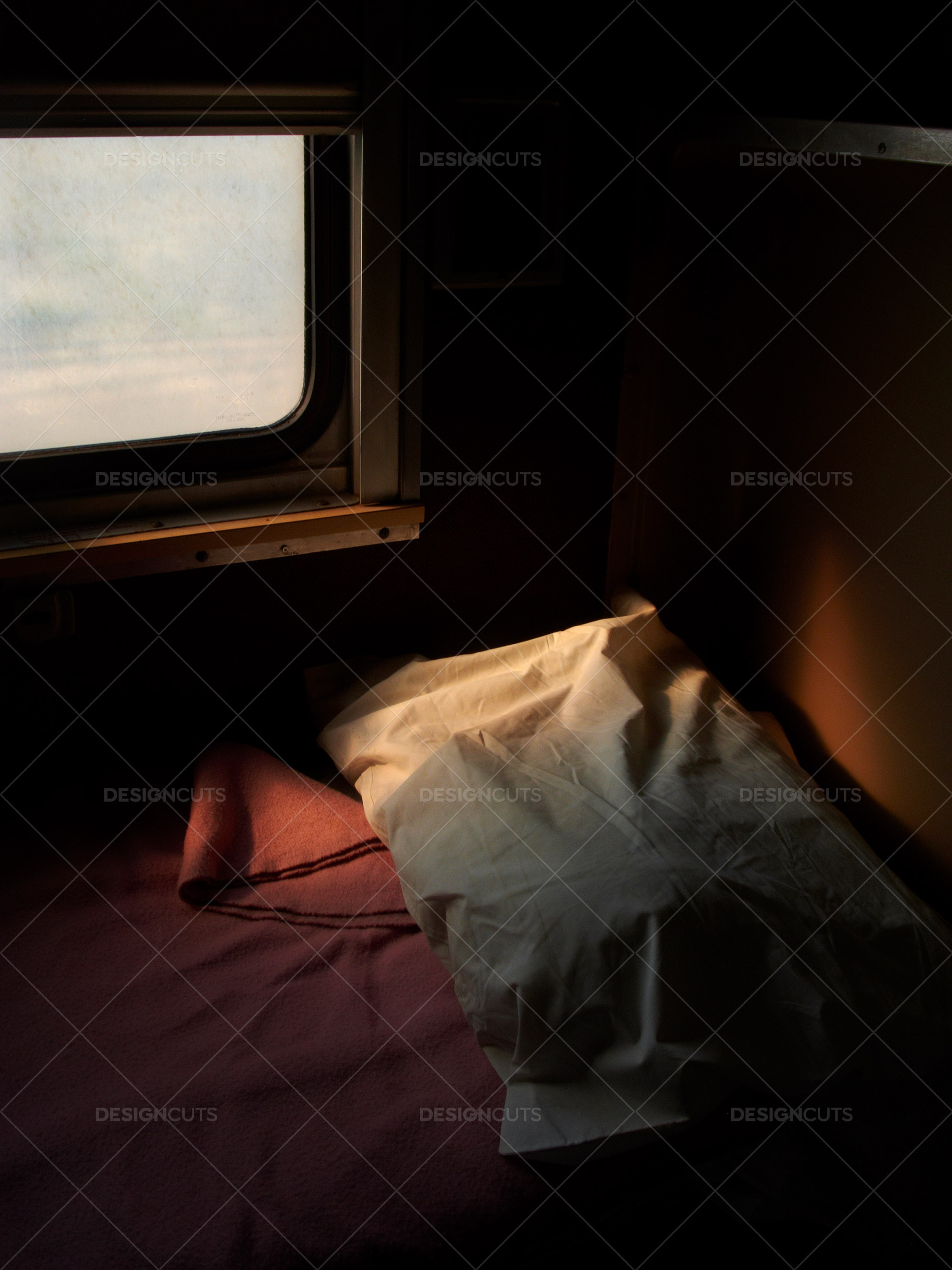 Dimly Lit Bed On An American Train