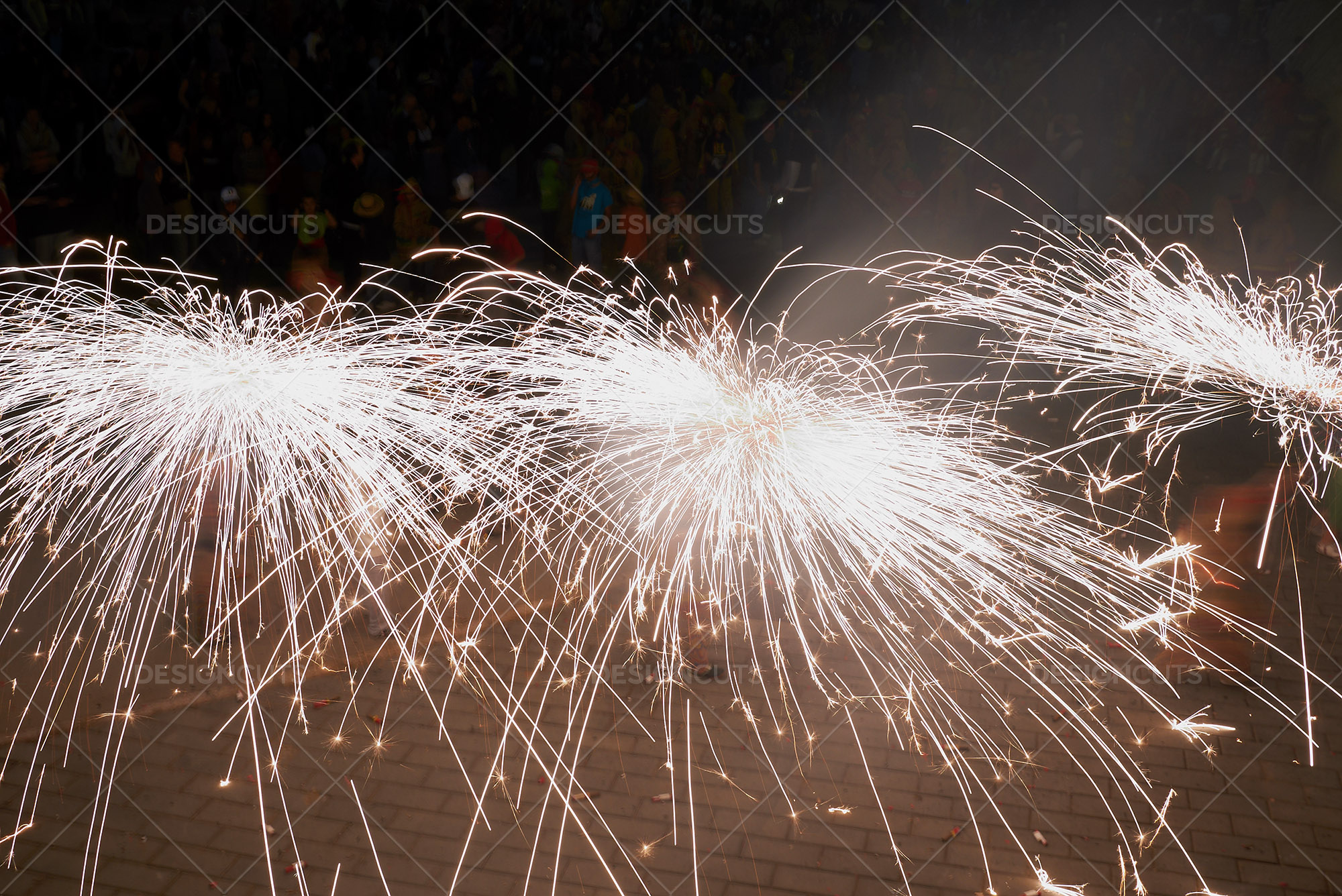 Long Exposure Of Firework Sparklers