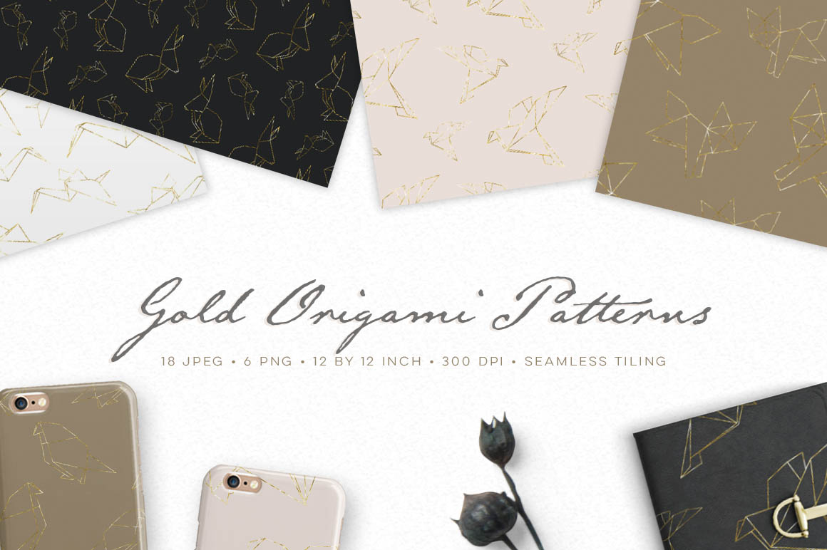 Gold Origami Geometric Pattern Collection
