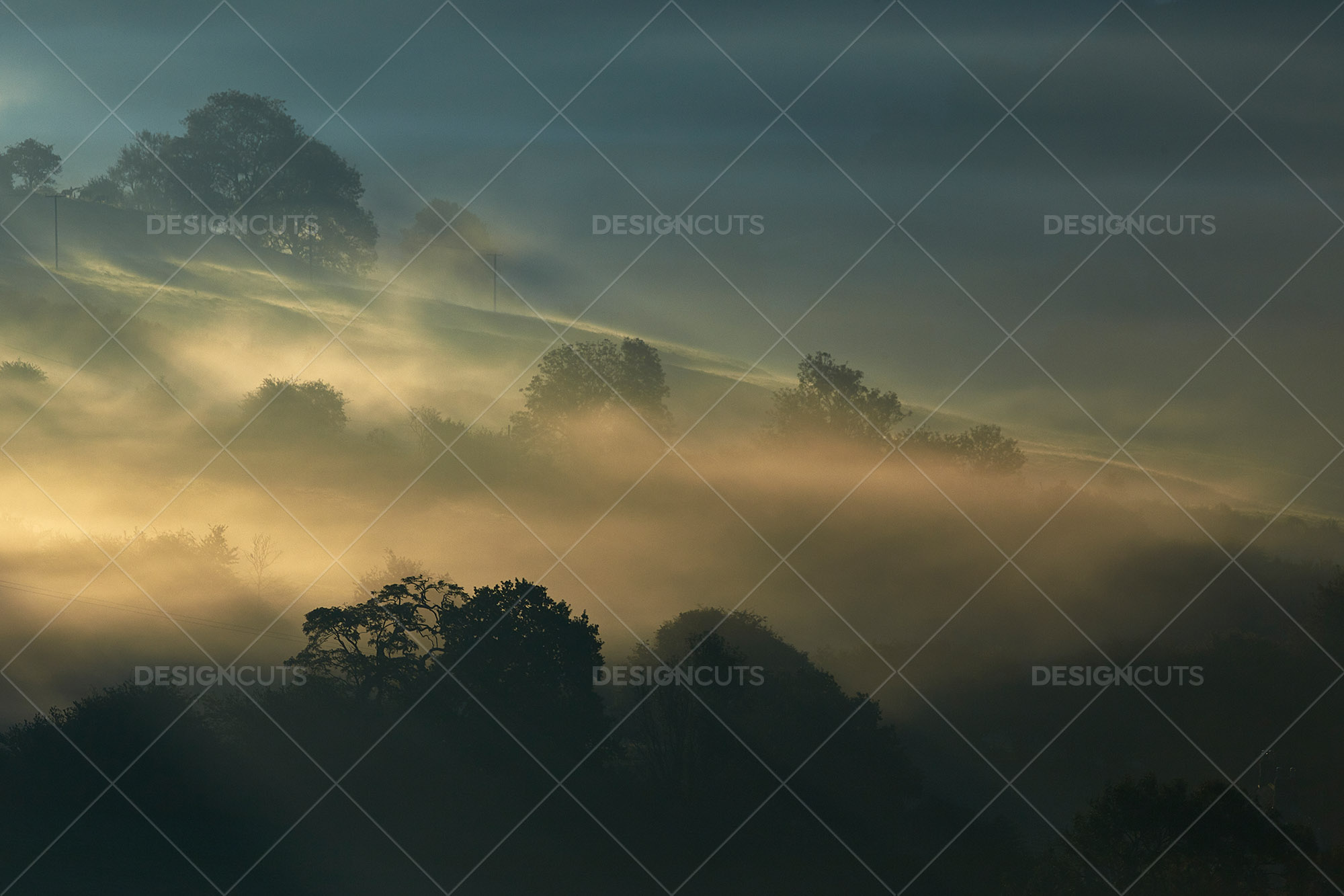 Misty British Country Hillsides At Dawn 2