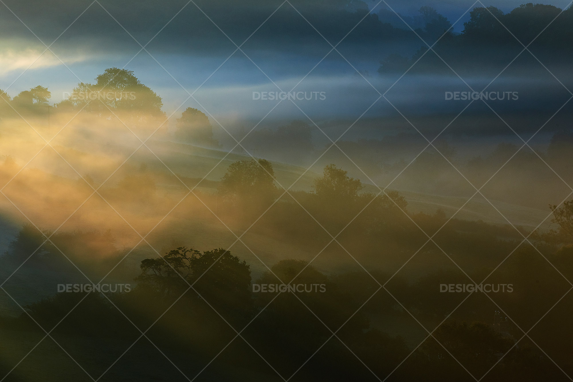 Misty British Country Hillsides At Dawn 3