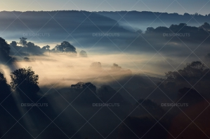 Misty British Country Hillsides At Dawn No. 8