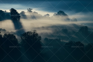 Misty British Country Hillsides At Dawn No. 9