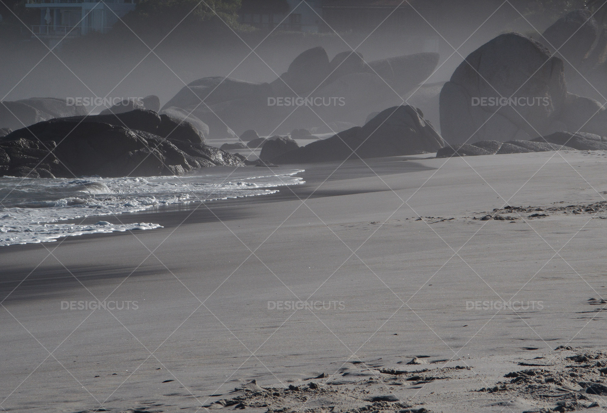Rock Formations On Hazy Seaside In Cape Town