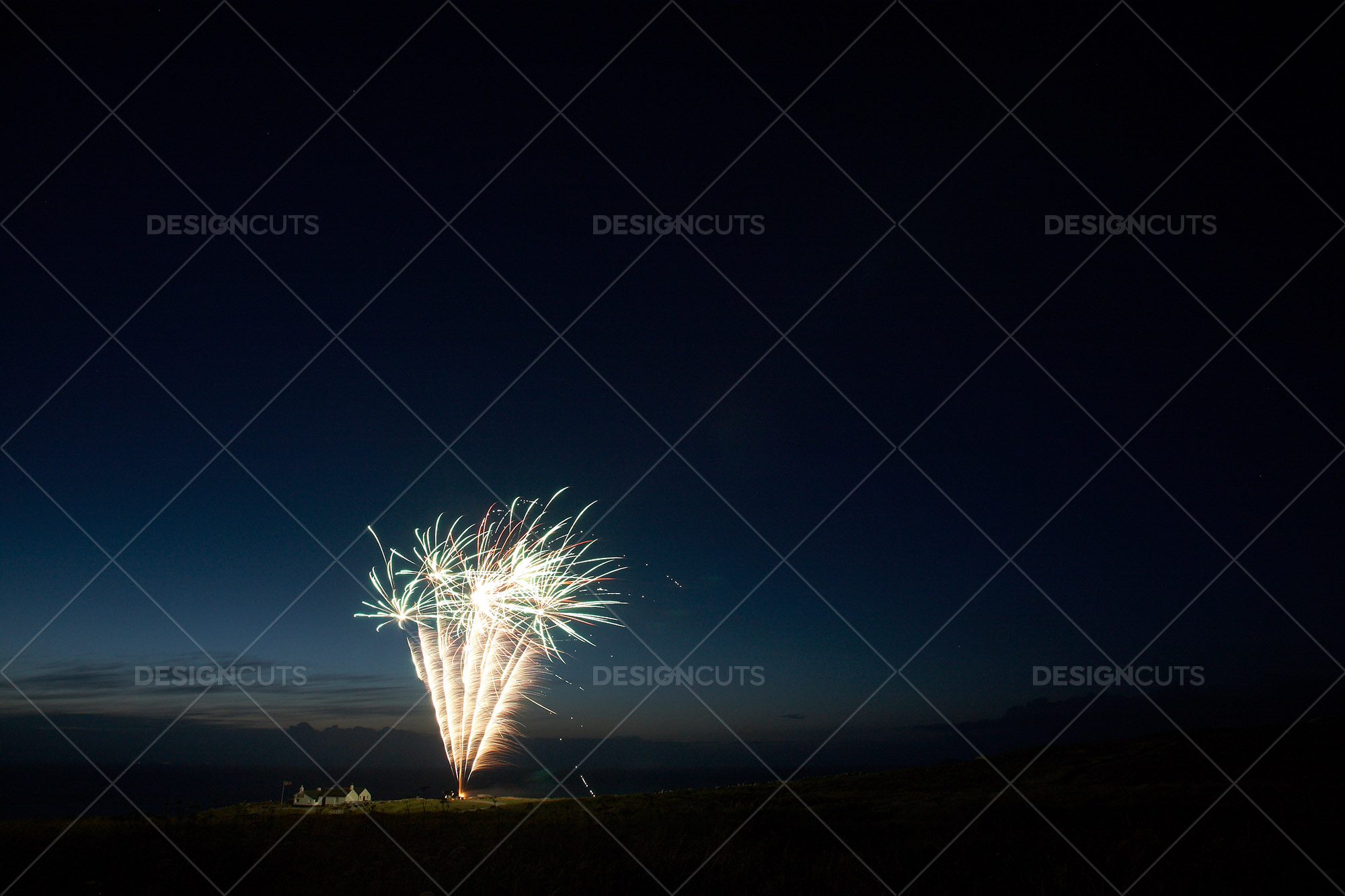Motion Blurred Fireworks Light Up Night Sky 4