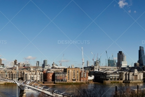 London Buildings Over Millenium Bridge On River Thames