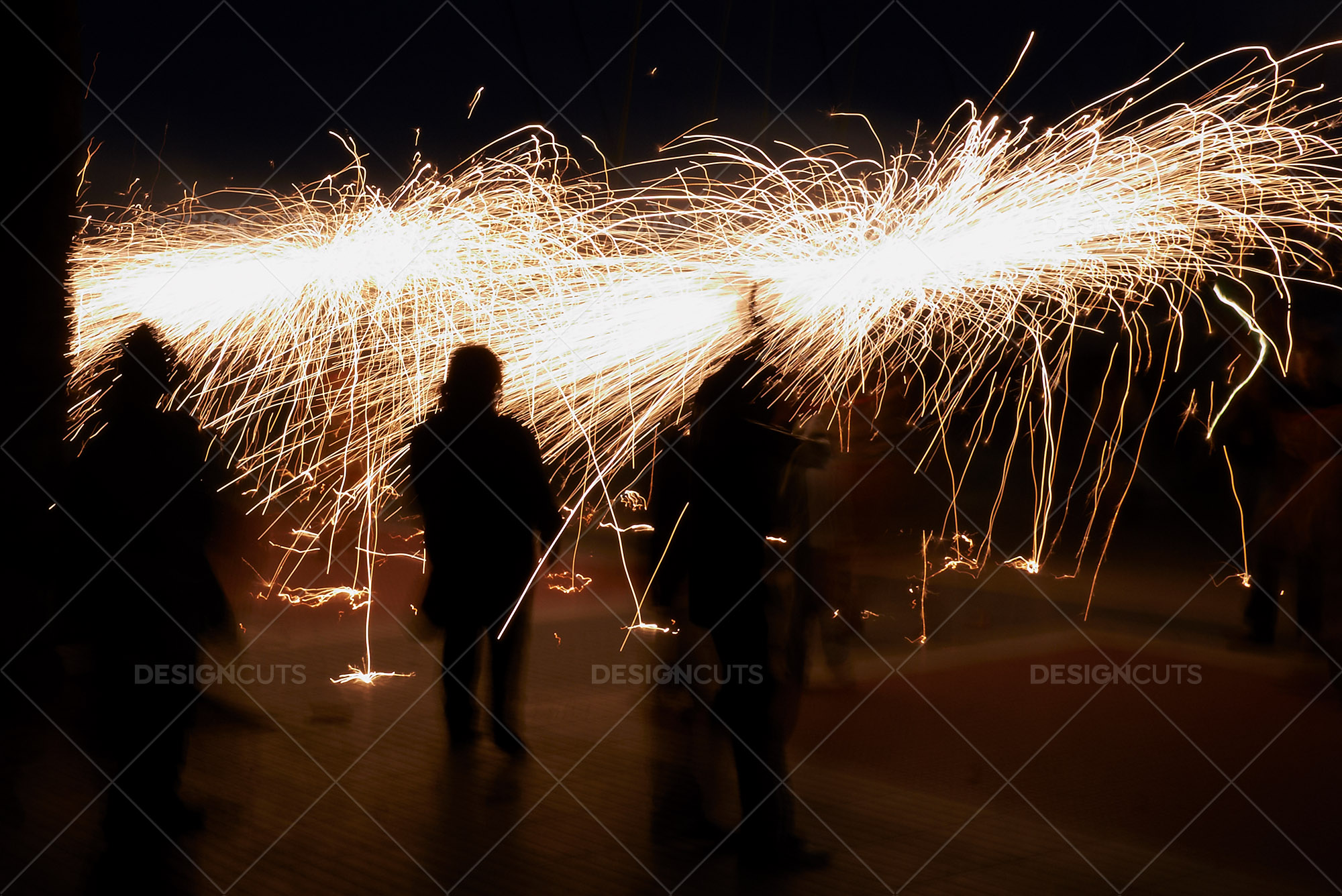 Motion Blur Silhouettes With Sparklers