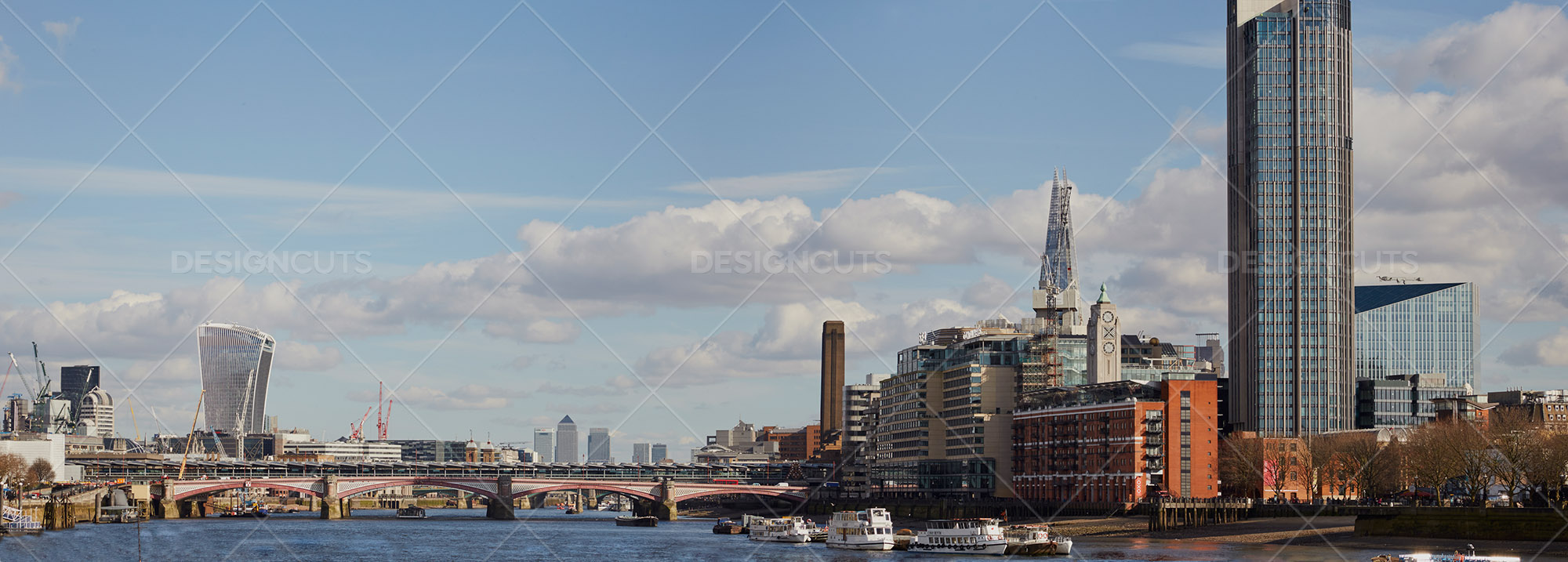 Panoramic View Of London Landmarks On River Thames