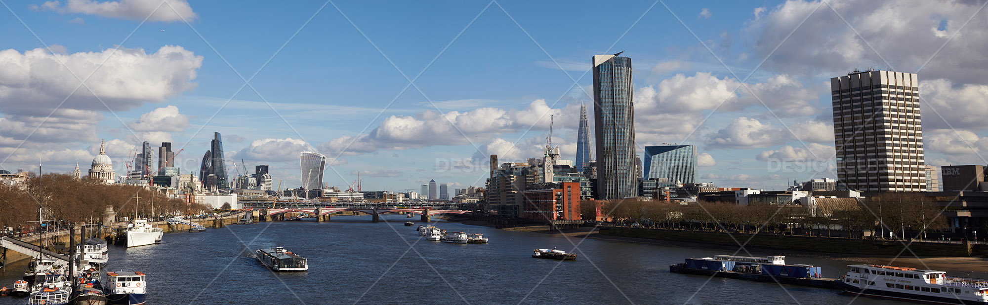 Panorama Of River Thames Leading Onto London Cityscape