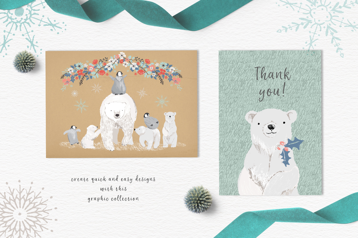 Polar Bear Christmas Clipart Set