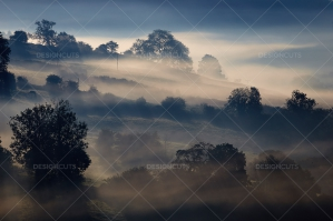 Misty British Country Hillsides At Dawn No. 22